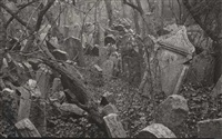 group of 7 photographs of the jewish cemetery, prague by tibor honty