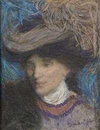 portrait de femme au chapeau by edmond françois aman-jean