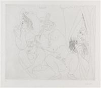 avec voyeur écartant le rideau, pl. v (from raphaël et la fornaria) by pablo picasso