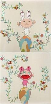 2004 kaikai with moss / kiki with moss (一组二件) by takashi murakami