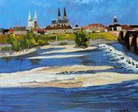 paysage au fleuve by henri auchère