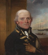 sir george murray wearing naval uniform, he holds his sword in the crook of his left arm, beyond him an open window to a scene of ships and a rowing boat by richard livesay