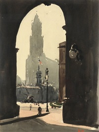 the woolworth building through the municipal building arch by leon dabo
