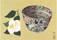 akae ware and white camellia by yuki ogura