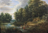 a wooded river landscape with shepherds and their flock resting by jacques d' arthois
