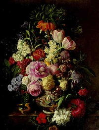 peonies, irises, tulips, hyacinths and other flowers in a vase on a marble ledge by a. van antro