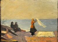 femmes juives étendant le linge sur la plage, tunis by david junes