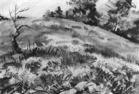 hillside landscape, spring by agnes anne abbot