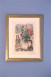 le chevalet aux fleurs by marc chagall