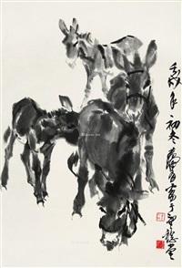 四驴图 立轴 水墨纸本 by huang zhou