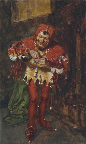the jester sketch of the court jester by william merritt chase