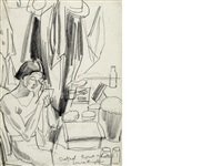 john gielgud at the regent theatre (+ a seated lady, verso) by dame laura knight