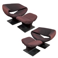 ribbon chairs and ottomans (pair) by pierre paulin