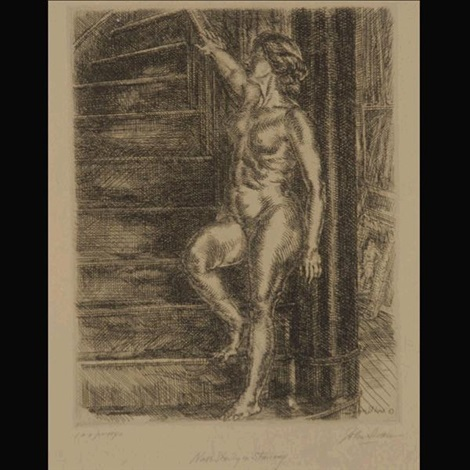 nude standing on stairway by john french sloan