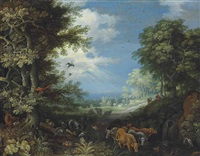 a wooded landscape with cattle, goats, a stag, ducks, a parrot and other birds, a herdsman and his dog beyond by roelandt savery