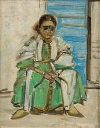 jeune berbère assise by louise lucas-bedouille