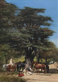 resting under a tree by victor pierre huguet