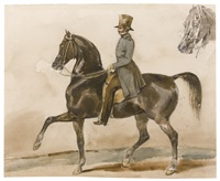 a gentleman on horseback, with a subsidiary study of the horse's head by théodore géricault