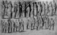 two rows of standing figures by barent avercamp