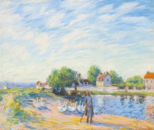 les oies à saint mammès by alfred sisley