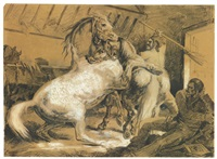 horses fighting in a stable by théodore géricault