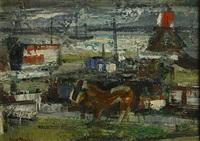 landschap met paard, boten en vuurtoren by paul maas