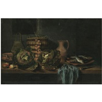 a still life with cabbages, onions, apples, a knife, wicker baskets and earthenware jugs on a table, together with a plate of fish and a blue cloth by hubert van ravesteyn
