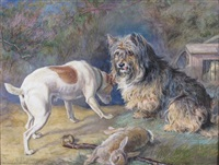 terriers and a ferret guarding their quarry by david george steell