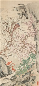 a painting of birds and flowering prunus by qu zhaolin