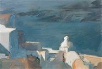 view of fira (+ traditional house in santorini; 2 works) by christoforos asimis
