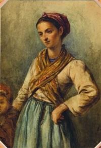 jeune femme et enfant by joseph fricero