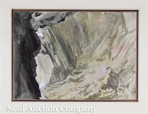 a cave seen in sunlight (+ a cave seen in shade; pair) by john ruskin