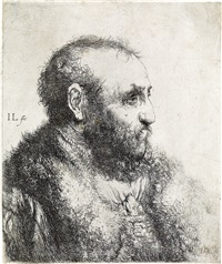 bust of a man wearing a fur coat: profile by jan lievens