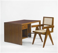 desk and chair from chandigarh, india by pierre jeanneret