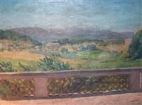 paysage provençal (+ paysage de nuit à la balustrade, lrgr; 2 works) by edmond sigrist