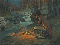 indian in moonlight by eanger irving couse