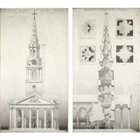 the west front of the church of st. martins in the fields, westminster (+ st. martin in the fields, westminster; 2 works) by augustus bryett