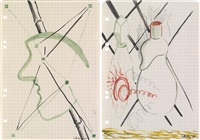 untitled (face with bamboo) (+ untitled; 2 works) by sigmar polke