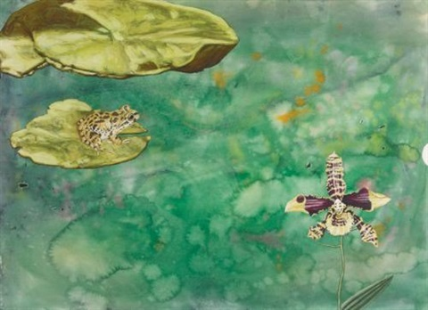 i was working on water color splatter paintings and one had a highly rendered frog on a lilly pad and a head on an orchid. it had a cut circular edge in 15 minutes i had to speak at a lecture hall with no idea what to say... by jim shaw