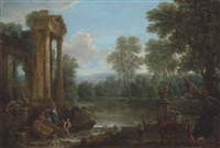 a wooded landscape with figures resting by classical ruins and a drover with his cattle by a stream by john wootton