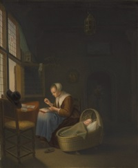 plaque of a dutch woman tatting lace by johannes (van delft) vermeer