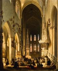 intérieur d'église by jules victor genisson