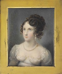 lady georgiana stanhope (1803-1824), in white dress with muslin sleeves, trimmed with lace, pearl necklace, drop-pearl earring, upswept curling brown hair by daniel valentine riviere