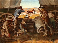 cowboys shooting at indians by irvin (shorty) shope