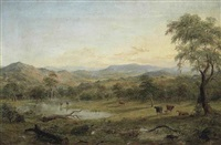victorian landscape with cattle watering by henry c. gritten