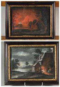 scène d'incendie et la veillée (2 works) by egbert lievensz van der poel