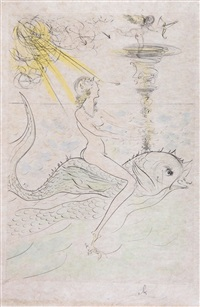 sirene au dauphin (from mythologique nouvelle) by salvador dalí