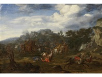 a cavalry skirmish by jan-peter van bredael the younger