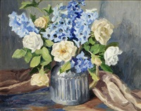 delphinium and roses by frances keffer