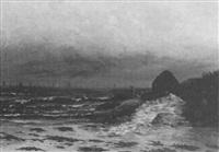 figures by a rocky coast by joseph alexander adams